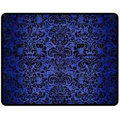 Damask2 Black Marble & Blue Brushed Metal (r) Fleece Blanket (medium) by trendistuff
