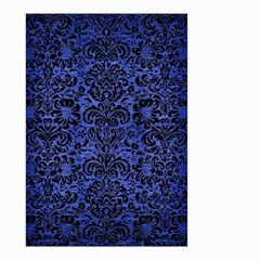 Damask2 Black Marble & Blue Brushed Metal (r) Small Garden Flag (two Sides) by trendistuff