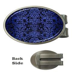 Damask2 Black Marble & Blue Brushed Metal Money Clip (oval) by trendistuff