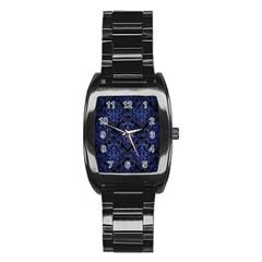 Damask1 Black Marble & Blue Brushed Metal Stainless Steel Barrel Watch by trendistuff