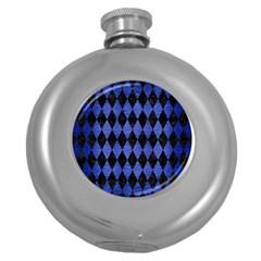 Diamond1 Black Marble & Blue Brushed Metal Hip Flask (5 Oz) by trendistuff