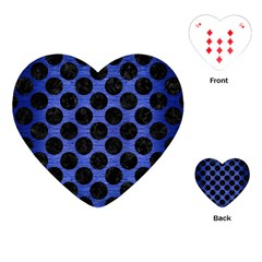 Circles2 Black Marble & Blue Brushed Metal (r) Playing Cards (heart) by trendistuff