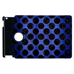 Circles2 Black Marble & Blue Brushed Metal (r) Apple Ipad 2 Flip 360 Case by trendistuff