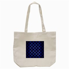 Circles2 Black Marble & Blue Brushed Metal Tote Bag (cream) by trendistuff