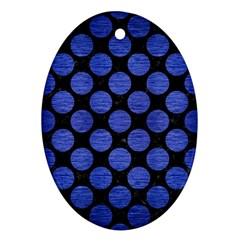 Circles2 Black Marble & Blue Brushed Metal Oval Ornament (two Sides) by trendistuff