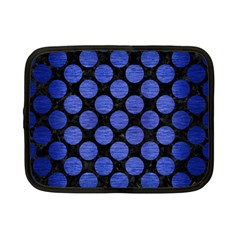 Circles2 Black Marble & Blue Brushed Metal Netbook Case (small) by trendistuff
