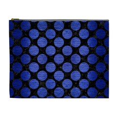 Circles2 Black Marble & Blue Brushed Metal Cosmetic Bag (xl) by trendistuff