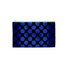 Circles2 Black Marble & Blue Brushed Metal Cosmetic Bag (xs) by trendistuff