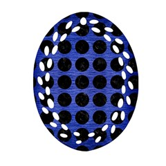 Circles1 Black Marble & Blue Brushed Metal (r) Oval Filigree Ornament (two Sides) by trendistuff