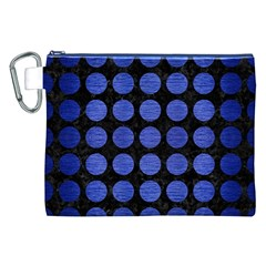 Circles1 Black Marble & Blue Brushed Metal Canvas Cosmetic Bag (xxl) by trendistuff