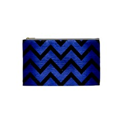 Chevron9 Black Marble & Blue Brushed Metal (r) Cosmetic Bag (small) by trendistuff