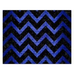 Chevron9 Black Marble & Blue Brushed Metal Jigsaw Puzzle (rectangular) by trendistuff