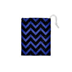 Chevron9 Black Marble & Blue Brushed Metal Drawstring Pouch (xs) by trendistuff