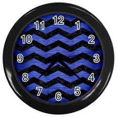 Chevron3 Black Marble & Blue Brushed Metal Wall Clock (black) by trendistuff