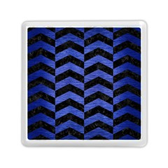 Chevron2 Black Marble & Blue Brushed Metal Memory Card Reader (square) by trendistuff