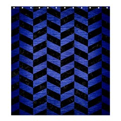 Chevron1 Black Marble & Blue Brushed Metal Shower Curtain 66  X 72  (large) by trendistuff