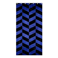 Chevron1 Black Marble & Blue Brushed Metal Shower Curtain 36  X 72  (stall) by trendistuff