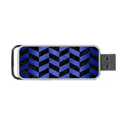 Chevron1 Black Marble & Blue Brushed Metal Portable Usb Flash (one Side) by trendistuff