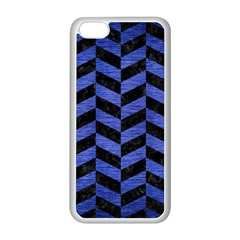 Chevron1 Black Marble & Blue Brushed Metal Apple Iphone 5c Seamless Case (white) by trendistuff