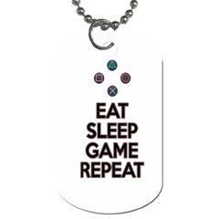 Eat Sleep Game Repeat Dog Tag (two Sides) by Valentinaart