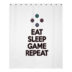 Eat Sleep Game Repeat Shower Curtain 60  X 72  (medium)  by Valentinaart