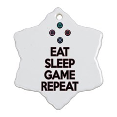 Eat Sleep Game Repeat Snowflake Ornament (two Sides) by Valentinaart