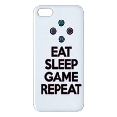 Eat Sleep Game Repeat Apple Iphone 5 Premium Hardshell Case by Valentinaart
