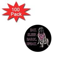 Eat, Sleep, Bark, Repeat Pug 1  Mini Buttons (100 Pack)  by Valentinaart