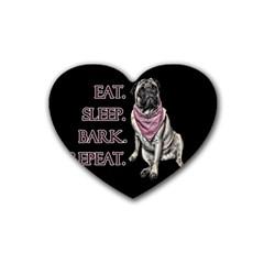 Eat, Sleep, Bark, Repeat Pug Heart Coaster (4 Pack)  by Valentinaart