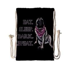 Eat, Sleep, Bark, Repeat Pug Drawstring Bag (small) by Valentinaart