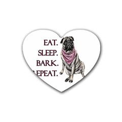 Eat, Sleep, Bark, Repeat Pug Rubber Coaster (heart)  by Valentinaart