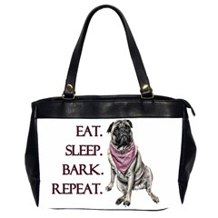 Eat, Sleep, Bark, Repeat Pug Office Handbags (2 Sides)  by Valentinaart