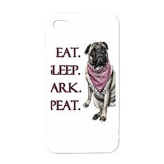 Eat, Sleep, Bark, Repeat Pug Apple Iphone 4 Case (white) by Valentinaart