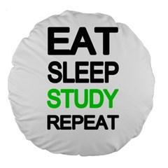 Eat Sleep Study Repeat Large 18  Premium Round Cushions by Valentinaart