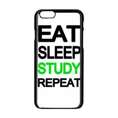Eat Sleep Study Repeat Apple Iphone 6/6s Black Enamel Case by Valentinaart