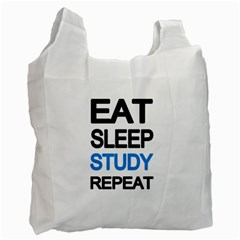 Eat Sleep Study Repeat Recycle Bag (one Side) by Valentinaart