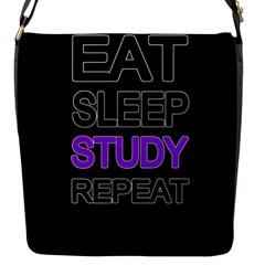 Eat Sleep Study Repeat Flap Messenger Bag (s) by Valentinaart