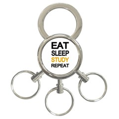 Eat Sleep Study Repeat 3 Ring Key Chains by Valentinaart