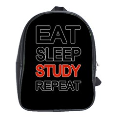 Eat Sleep Study Repeat School Bags (xl)  by Valentinaart