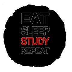 Eat Sleep Study Repeat Large 18  Premium Flano Round Cushions by Valentinaart