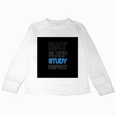 Eat Sleep Study Repeat Kids Long Sleeve T Shirts by Valentinaart