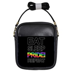 Eat Sleep Pride Repeat Girls Sling Bags by Valentinaart