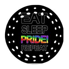 Eat Sleep Pride Repeat Ornament (round Filigree) by Valentinaart