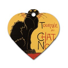 Black Cat Dog Tag Heart (one Side) by Valentinaart