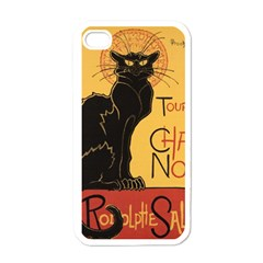 Black Cat Apple Iphone 4 Case (white) by Valentinaart
