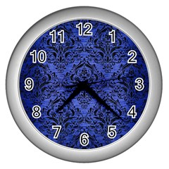 Damask1 Black Marble & Blue Brushed Metal (r) Wall Clock (silver) by trendistuff