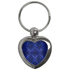 Damask1 Black Marble & Blue Brushed Metal (r) Key Chain (heart) by trendistuff