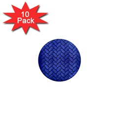 Brick2 Black Marble & Blue Brushed Metal (r) 1  Mini Magnet (10 Pack)  by trendistuff
