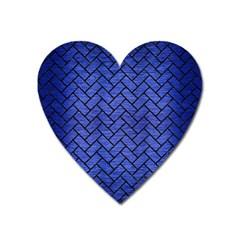 Brick2 Black Marble & Blue Brushed Metal (r) Magnet (heart) by trendistuff