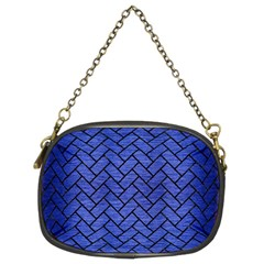 Brick2 Black Marble & Blue Brushed Metal (r) Chain Purse (two Sides) by trendistuff